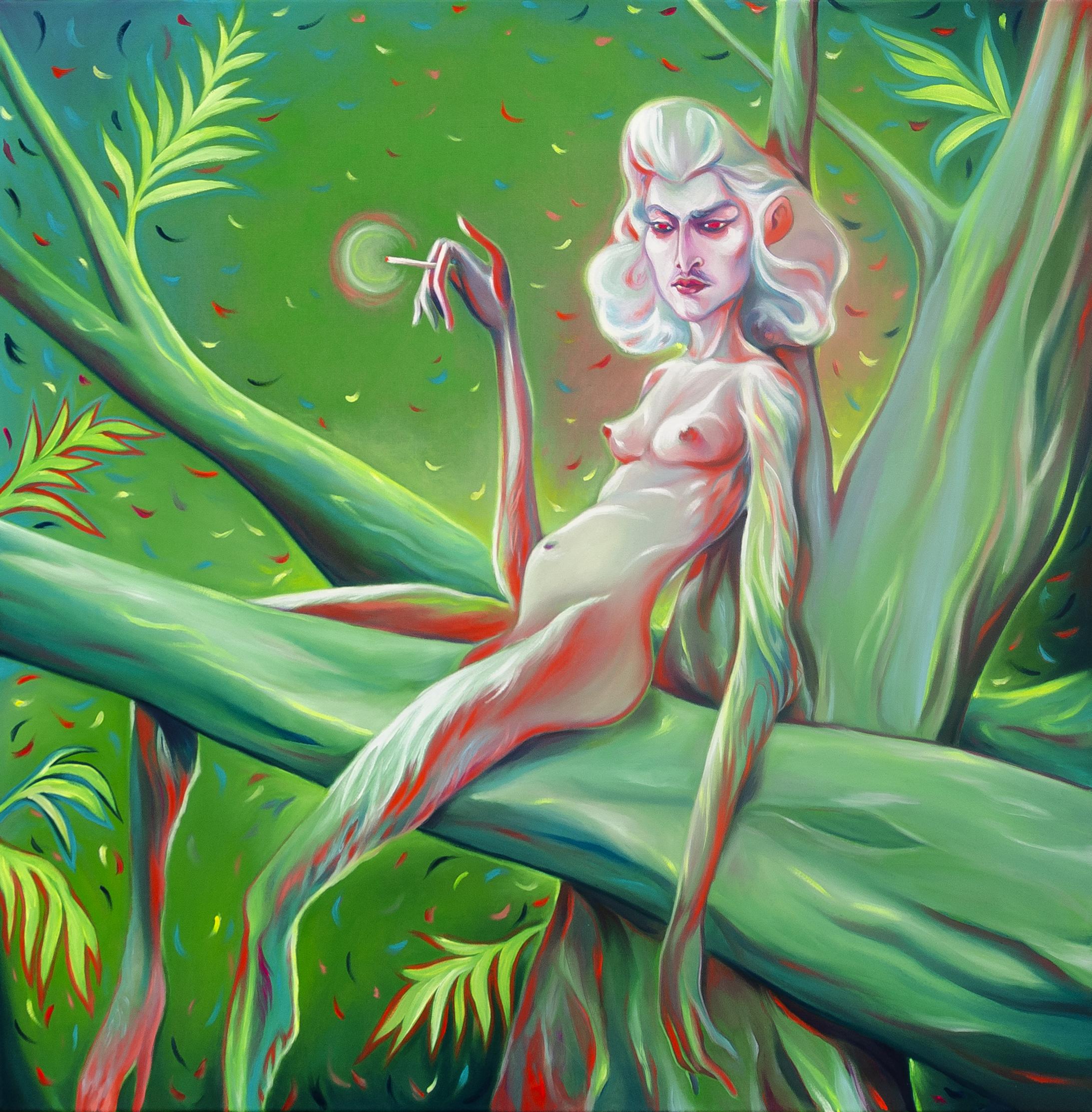 Luigi Presicce - Homo Sapiens Sapiens Sapiens (Anna che fuma) - 2020 - Olio su tela - 100x100cm - fot_n_ 2389 - Cod_8Pre2020