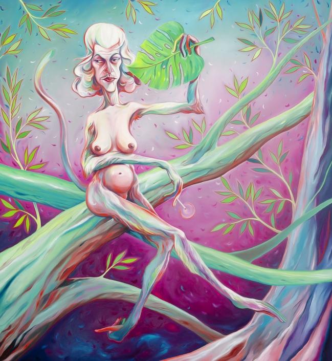 Luigi Presicce - Homo Sapiens Sapiens Sapiens (Donna con ventaglio) - 2020 - Olio su tela - 200x180cm - fot_n_ 2386 - Cod_6Pre2020