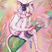 Luigi Presicce - Homo Sapiens Sapiens Sapiens (Madame con ventaglio) - 2020 - Olio su tela - 140x100cm - fot_n_ 2394 - Cod_13Pre2020