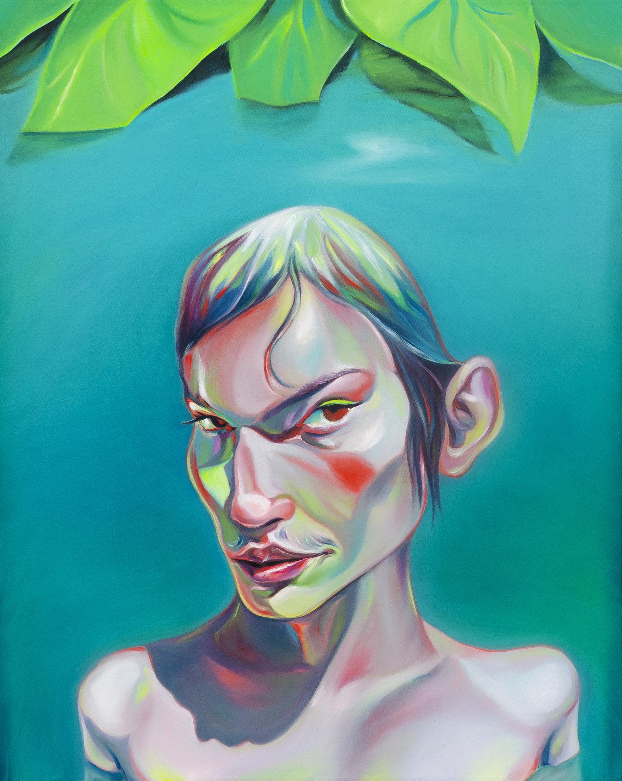 Luigi Presicce - Homo Sapiens Sapiens Sapiens (Ragazza che prende il bagno) - 2020 - Olio su tela - 100x80cm - fot_n_ 2396 - Cod_15Pre2020