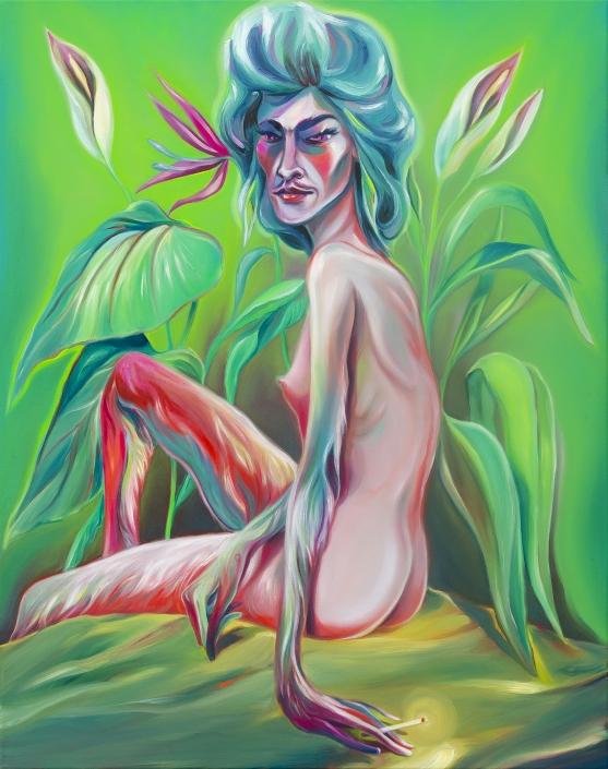 Luigi Presicce - Homo Sapiens Sapiens Sapiens (Ragazza con orecchini che fuma) - 2020 - Olio su tela - 100x80cm - fot_n_ 2397 - Cod_16Pre2020