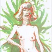 Luigi Presicce - Homo Sapiens Sapiens Sapiens (Ragazza di Berlino seduta) - 2020 - Olio su carta - 34x21cm - fot_n_ 2454 - Cod_22Pre2020