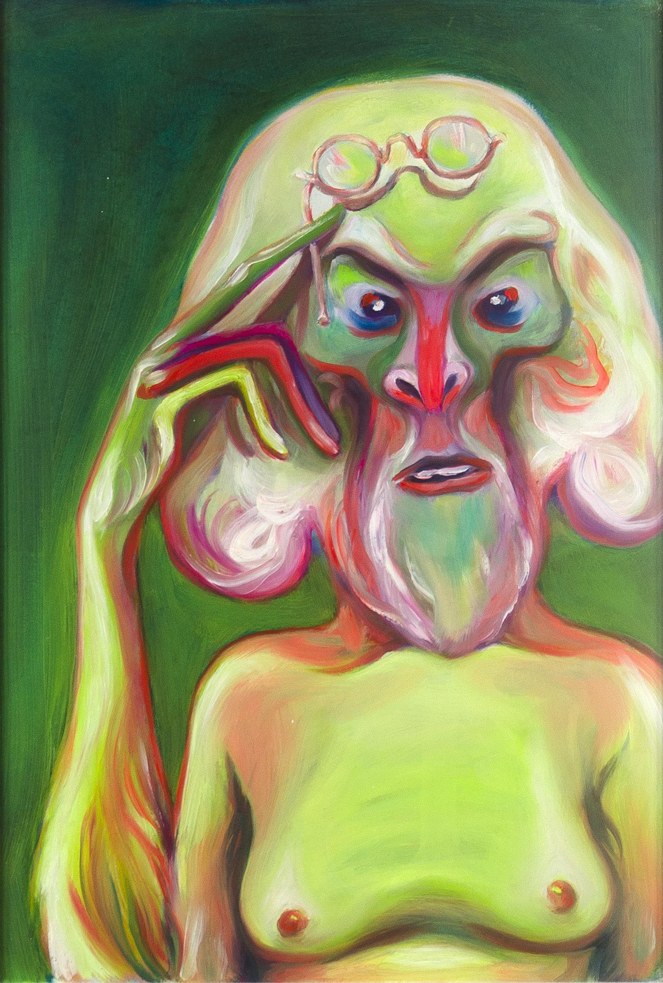 Luigi Presicce - Homo Sapiens Sapiens Sapiens (Scimmia con occhiali) - 2020 - Olio su carta - 50x35cm - fot_n_ 2452 - Cod_20Pre2020