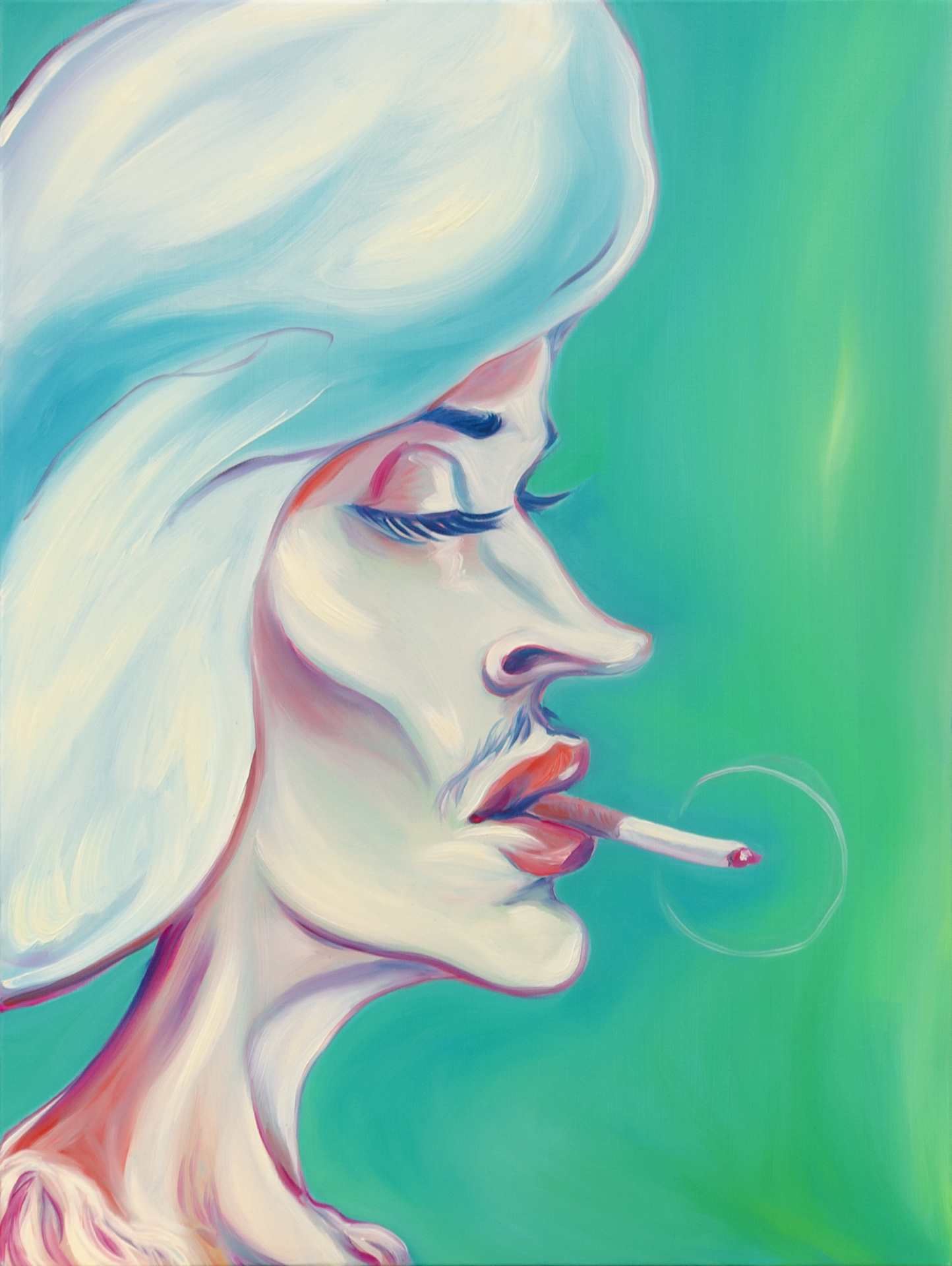 Luigi Presicce - Homo Sapiens Sapiens Sapiens (Signora fumante) - 2020 - Olio su tela - 80x60cm - fot_n_ 2393 - Cod_12Pre2020